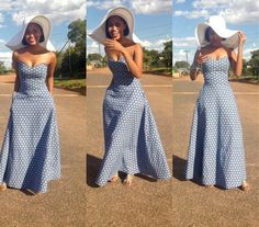 Tswana simple and beautiful summer dress with hat