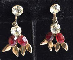 Vintage Art Deco Red and Clear Rhinestone Earrings, Chandelier Earrings, Vintage Screwback Dangle Earrings, Brilliant Sparkly Rhinestones