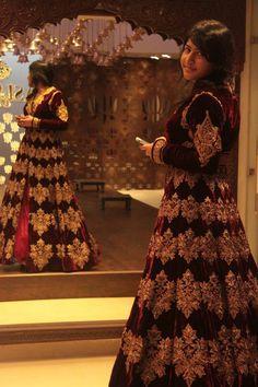 Dress # velvet gold lehenga
