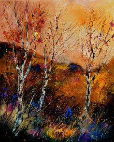 "Saatchi Online Artist: Pol Ledent; Oil, 2012, Painting ""Birchtrees"""