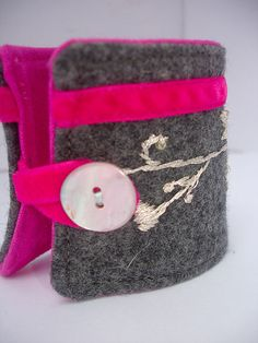 Hand Embroidered felt cuff Bracelet  Night sparkle by leilalou, $28.00