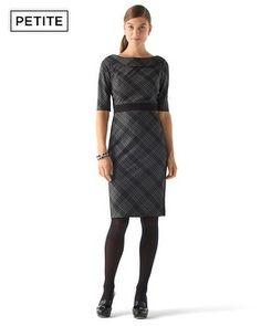 White House | Black Market Petite Bias-Plaid Dress 0P