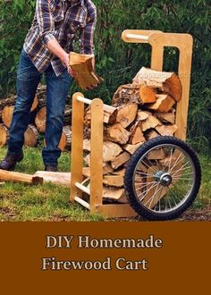See how to make this diy homemade firewood cart and make bring wood in easier. Clearing out trees on your land in a necessary part of homesteading. Then chopping the trees up to be used as firewood is a normal thing as you get closer to the winter. However, getting the firewood back to the house is not always fun.