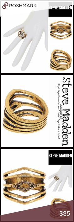 """STEVE MADDEN STATEMENT RING Gold Plated 💟NEW WITH TAGS💟 SIZE- 7, true to size  STEVE MADDEN STATEMENT RING  * Textured gold plated construction  * Beautiful pave set studded rhinestones   * Multi-band w/cutout diamond detail  * Semi Adjustable sizing depending on whether you wear this as a midi ring or regular ring  * Approx 0.75"""" L  * Well made & high quality piece   Material: 16K gold plated alloy, Rhinestone Color: Gold Item# Boho cocktail 🚫No Trades🚫 ✅ Offers Considered*✅ *Please use…"""