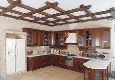 Colored Ceiling, Ceiling Color, Trim Work, Pop Design, Wood Ceilings, Ceiling Design, Traditional House, Kitchen Cabinets, Woodworking