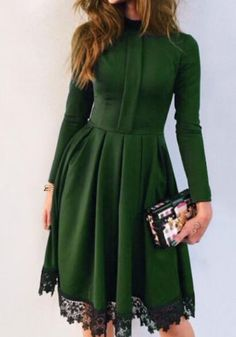 Green Patchwork Lace Pleated Band Collar Long Sleeve Mini Dress