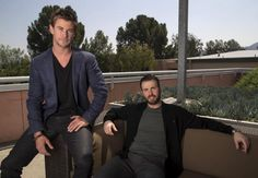 Cast members Chris Hemsworth (L) and Chris Evans pose for a portrait while promoting ''Avengers: Age of Ultron'' in Burbank, California April 11, 2015. REUTERS/Mario Anzuoni