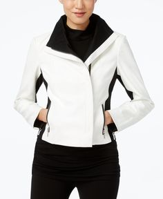 Inc International Concepts Faux-Leather Colorblocked Moto Jacket, Only at Macy's