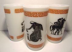 "Vintage Milk Glass Hazel Atlas Greek Gods Key Design Set of 3 Tumblers 5"" (B) picclick.com"