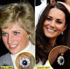 HRH the Duchess of Cambridge's diamond and sapphire earrings are probably a modified version of Princess Diana's earrings.