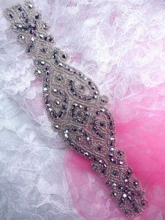 Beaded Applique Silver Glass Designer Victorian Patch Motif Measures: x Measurements are Approximate Beaded Bracelet Patterns, Beaded Jewelry, Beaded Bracelets, Jewellery, Crystal Snowflakes, Rhinestone Appliques, Making Hair Bows, Collar And Leash, Beading Tutorials