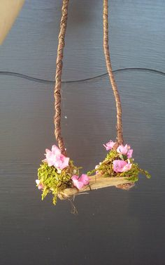 Fairy or Doll Flowered Swing by DancingFrogs44 on Etsy https://www.etsy.com/listing/265785881/fairy-or-doll-flowered-swing