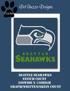 Seattle Seahawks Crochet Pattern Afghan Graph 500 Pattern