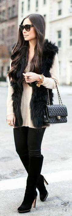 Outfit con chaleco de peluche