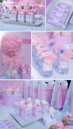 ballerina deco party ideas - water bottle, cupcake, treats