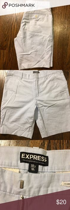 Men's Express Shorts Men's Express shorts in seersucker light blue. Great condition with a sleek design. 100% Cotton Express Shorts Flat Front