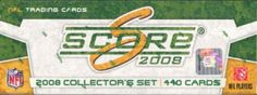 """2008 Score Football Factory Set. 440 Card Set With 110 Rookies. New Photos. A Great Gift Item With A Great List of Rookies For 2008. Be Sure You Get NFL Gift Wrap To Up Sell Your Customers. This 4 Color Gift Wrap Enhances Any NFL Fan's Gift! Each Package Contains 3 Sheets of Team Logo Gift Wrap, Each Sheet Measures 20""""X 30""""  2008 Score Football Factory SetSport Theme: FootballLeague: NFL"""