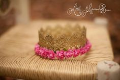 Royal Gold Lace Crown with Pink Flowers and by LittleSparrowBows #littlesparrowbows #lacecrown #goldcrown