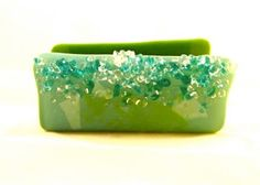 Fused Glass Business Card Holder with Crystal by Mtbaldyglassworks