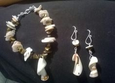bracelet and earrings of shells