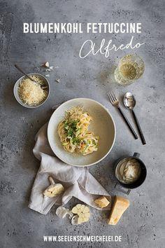 Pasta mit schneller Blumenkohl Sauce - ratzfatz gemacht Fettuccine Alfredo, A Food, Cooking, Fruit Recipes, Cauliflowers, Fruit And Veg