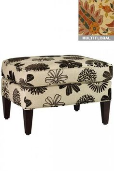 Hermes ottoman - look at in blue & grey floral and in aqua ikat