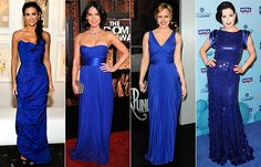 cobalt looks great with all necklines -- think we can find these dresses in cocktail length!?!  i'd wear all of them, except maybe the far right...!