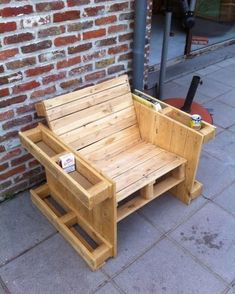 Teds Wood Working - Wood Profits - Self made pallet bench - Discover How You Can Start A Woodworking Business From Home Easily in 7 Days With NO Capital Needed! - Get A Lifetime Of Project Ideas & Inspiration! Wooden Pallet Projects, Wooden Pallet Furniture, Woodworking Projects Diy, Woodworking Furniture, Wood Pallets, Diy Furniture, Pallet Ideas, Diy Projects, Pallet Benches