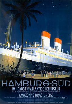 Poster Print Wall Art Print entitled Hamburg to America,Vintage Poster, by Ottomar Anton Vintage Travel Posters, Vintage Ads, Photo Deco, Ad Art, Ship Art, Anton, Cruises, Illustrations, Art Print