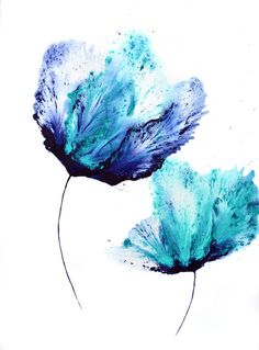 In this original modern floral painting on paper, an abstract flower presents in shades of teal and navy blue. Small painting, size approximately 5