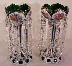 """Pair Of Moser Mantel Lustres - Signed """"Moser"""", Acid Etched In Green Panel On Bottom Of Each Lustre     c.1900"""