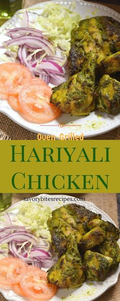 Delicious Oven Grilled Hariyali Chicken - Goodness of Veggies and chicken! Veg Recipes, Turkey Recipes, Indian Food Recipes, Real Food Recipes, Dinner Recipes, Cooking Recipes, Recipies, Kebab Recipes, Cooking Rice