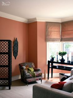 Mom's room color Home Design and Decor , Home Tuscan Style Decorating Inexpensively : Living Room Tuscan Style Decorating With Terracotta Wall Colors And Decor Dining Room Paint Colors, Kitchen Wall Colors, Bedroom Colors, Orange Living Room Paint, Tuscan Style Decorating, Tuscan Design, Decorating Ideas, Decor Ideas, Bedroom Wall