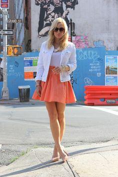 "Weekend Date via BrooklynBlonde.com / @brooklynblonde  ASOS Skirt (last year), J Brand Jacket c/o, Louboutin Shoes, Lauren Elan Necklace, Albeit Initial,   Bracelets c/o: Gorjana, Poshlocket, Amrita Singh (20% off your entire order with the code ""Bklyn.""), J Crew Belt. Wednesday, May 30, 2012"