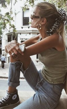 handkerchief ponytails + tank + ripped jeans + converse chuck taylor high tops | urban outfitters style | urban outfit ideas