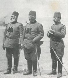 Early defenders of the #Dardanelles during #Ottoman #Italian War Rüşdü Pasha (centre) Fortified Zone Commander and Galib Pasha (left)