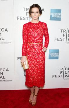 44d89ef9954e Emily Blunt chose a red lace Michael Kors dress last night for her second  movie debut