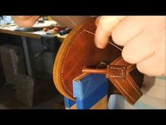 Let's Make Leather Flip Flops! Part 7 - Sewing the strap to the Sole, Cementing the Layers - YouTube