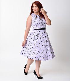 Voodoo Vixen Plus Size 1950s Style Lavender Kitties Keyhole Swing Dress
