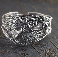925 Sterling Silver flower & butterfly handmade bracelet bangle cuff P1096 #Unbranded