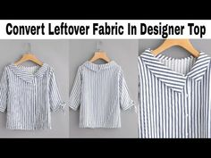 Knitting Patterns Gifts Convert Leftover Fabric In Double Collar Side Button Top In Just 10 minutes/Reuse/Recycle/Revamp Neck Designs For Suits, Sleeves Designs For Dresses, Dress Neck Designs, Stylish Dress Designs, Blouse Designs, Churidhar Designs, Kurta Designs, Collar Kurti Design, Kurti Sleeves Design