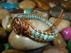 African Turquoise Oval Single Wrap Bracelet with Antique Copper Woven Rim Button on Etsy, $18.00