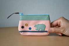 Leather mini pouch Purse Upcycled Polar bear Nautical by takakutsu, $28.00