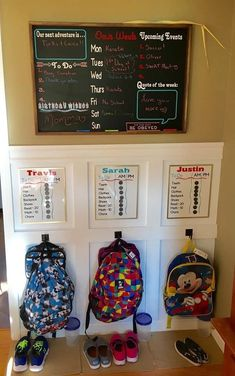 School Rules Our backpack station / command center designed by Home Sweet Signs NH. Here's to a great & organized school year!Our backpack station / command center designed by Home Sweet Signs NH. Here's to a great & organized school year! Home Organisation, Organization Hacks, Backpack Organization, Kids Clothes Organization, Kids Backpack Storage, Organizing Kids Toys, Backpack Hooks, Kids Playroom Storage, Children Storage