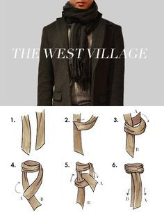 West Village Scarf Tying - Tie your scarf all swanky-like Mode Masculine, Style Masculin, Herren Outfit, How To Wear Scarves, Tie Scarves, Scarf Styles, Ideias Fashion, Winter Fashion, Cute Outfits