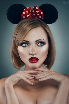 Pin-Up du jour – Minnie Maybelline, Pin Up, Minnie Mouse Costume, Beautiful Lips, Portraits, Creative Makeup, Costume Makeup, Dark Beauty, Model Photographers