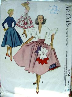 Vintage Cocktail or Evening Petticoat, Skirt & Cummerbund Sewing Pattern… Vintage Dress Patterns, Vintage Skirt, Clothing Patterns, Vintage Dresses, Vintage Outfits, Fashion Moda, 1950s Fashion, Look Fashion, Vintage Fashion