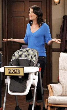 Robin's blue v-neck sweater and cropped jeans on How I Met Your Mother.  Outfit Details: http://wornontv.net/6046/ #HIMYM