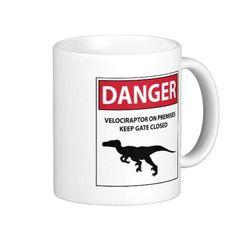 Danger Sign (Raptors) Classic White Coffee Mug #dinosaurs #jurassic #velociraptor #raptors #danger