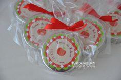 Latinha personalizada com confeitos de chocolates, tema Pomar :: flavoli.net - Papelaria Personalizada :: Contato: (21) 98-836-0113  vendas@flavoli.net